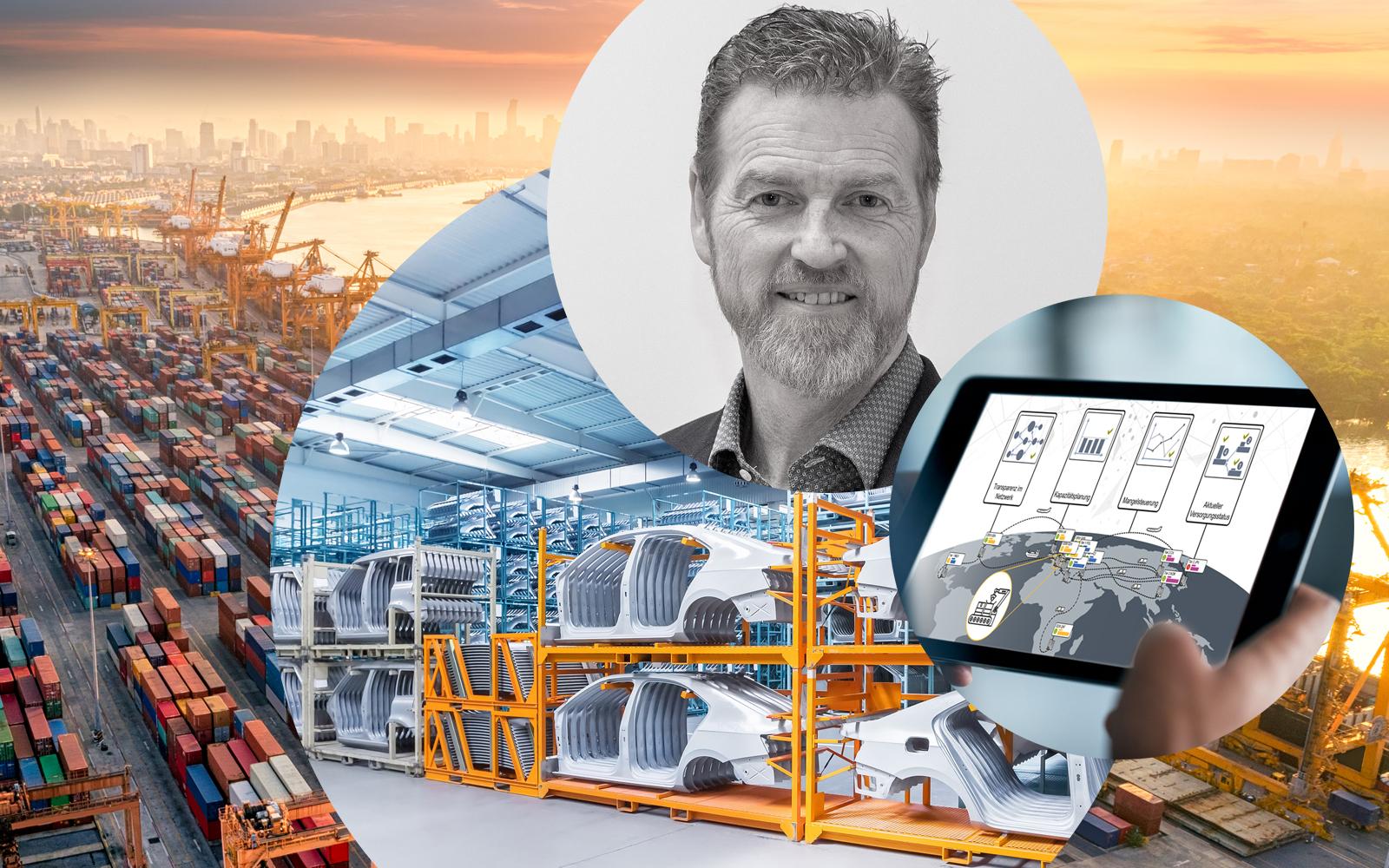 Bild von Ingo Hauptmann, Segmentleiter Lieferantenmanagement bei valantic Supply Chain Excellence, daneben ein iPad sowie Autoteile in einem Lager, im Hintergrund ein Industriehafen mit Containern