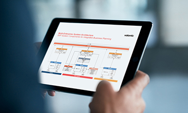 Image of a person holding a tablet, valantic SAP Integrated Business Planning (IBP)
