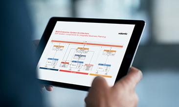 Bild einer Person, die ein Tablet hält, valantic SAP Integrierte Business Planung (IBP)