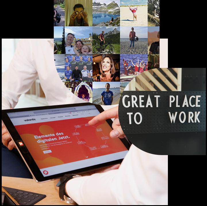 Bild von valantic Mitarbeitern, daneben ein Bild mit der Aufschrift Great Place to work und dahinter Bilder von einem Tablet mit der geöffneten valantic Homepage, Karriere bei valantic