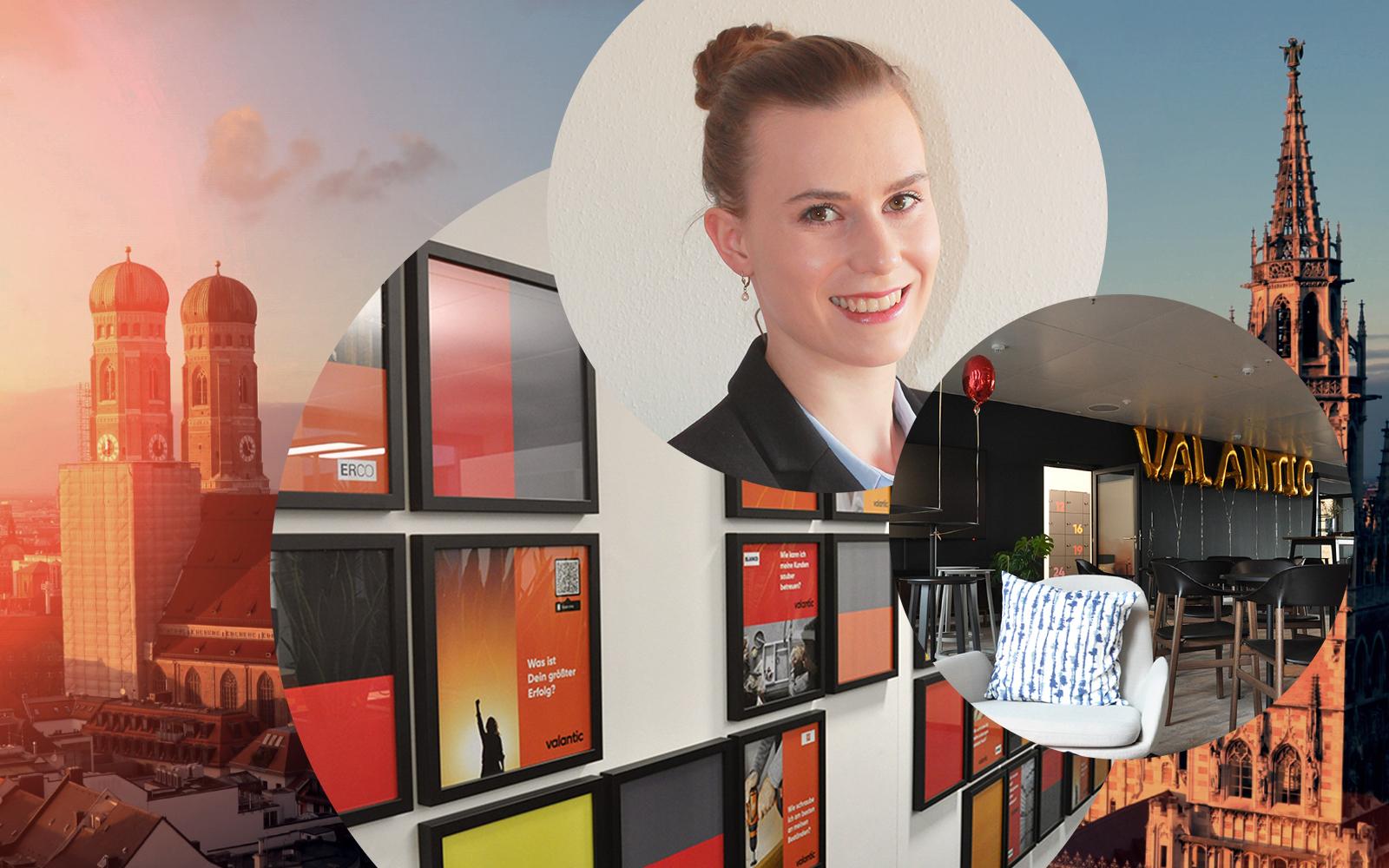 Bild von Katharina Mossbauer, Analystin Integrated Business Planning bei valantic Supply Chain Excellence und dahinter die Büroräumlichkeiten des Münchener valantic Büros sowie die Stadtansicht von München