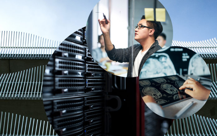 Image of man taking notes, next to it in tablet and close-up of connectors in a data center, AI consulting from valantic