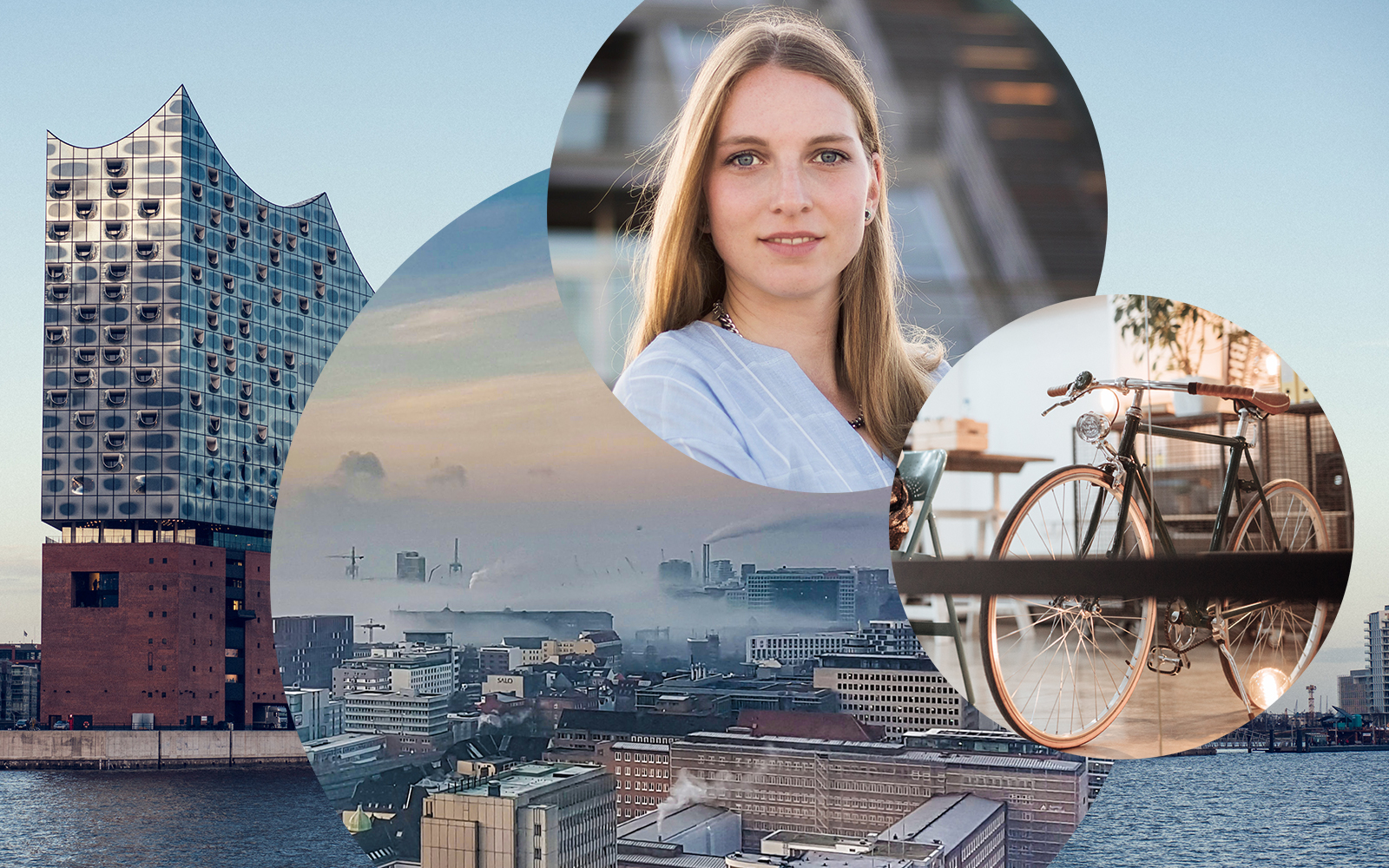 Image of Kirsten Nachtmann, Consultant SAP Business Intelligence (BI) at valantic Business Analytics in Hamburg, in the background the Elbphilharmonie in Hamburg as well as the skyline and a bike in the office