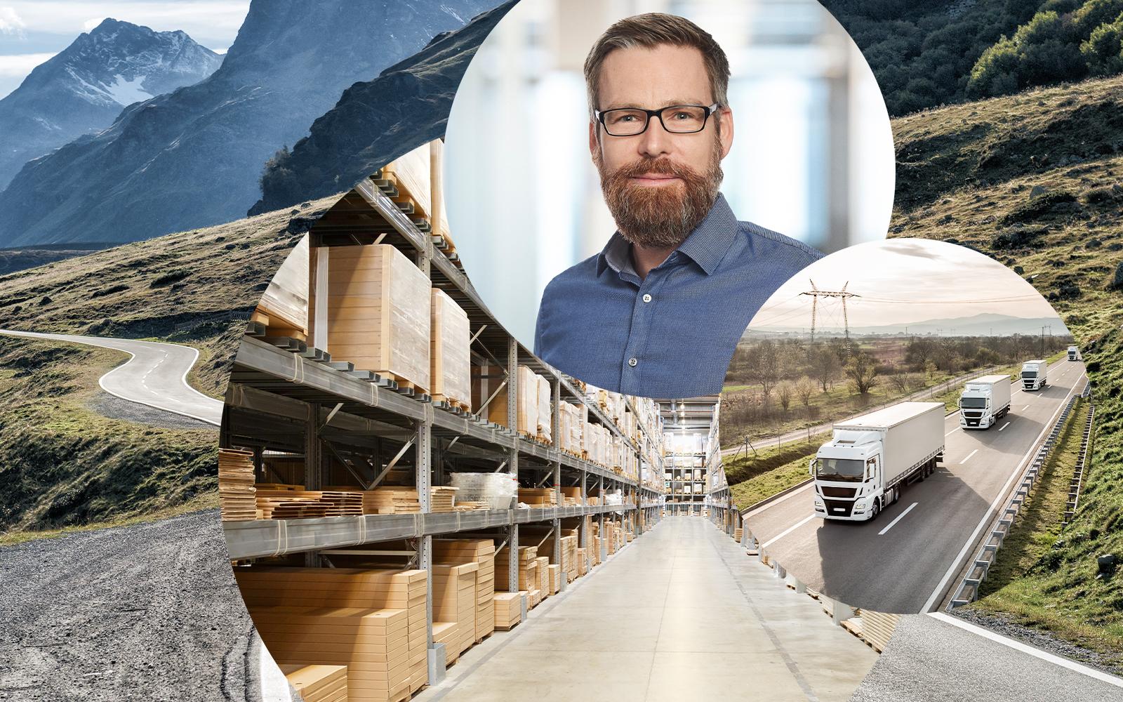 Bild von Markus Schedel, valantic Supply Chain Excellence, in zwei runden Bildausschnitten daneben ein LKW sowie eine Lagerhalle, Lieferketten optimieren mit dem Connected Chain Manager von valantic