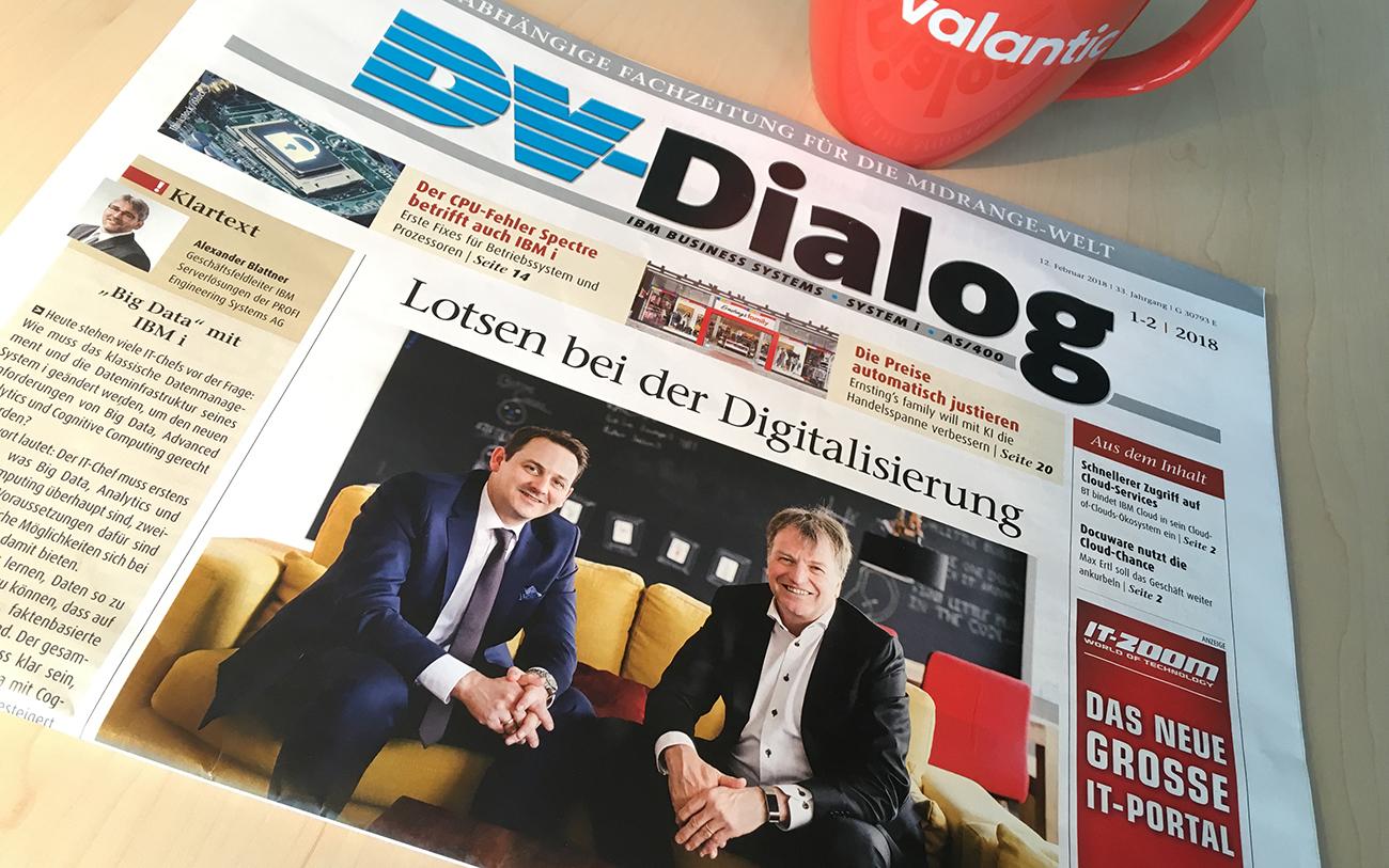 """Bild von einem Zeitungsartikel in der DV-Dialog mit der Überschrift """"Lotsen bei der Digitalisierung - Philipp Königs und Roland Martinez stehen Rede und Antwort"""""""