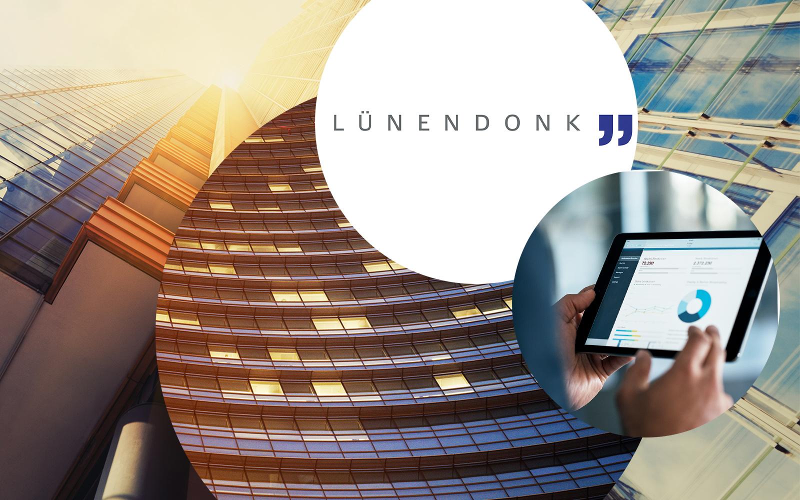 Lünendonk Logo, daneben ein Bild von einem Tablet mit Grafiken und dahinter Bilder von einem Gebäude, Lünendonk-Studie 2018 belegt rasantes Wachstum von valantic