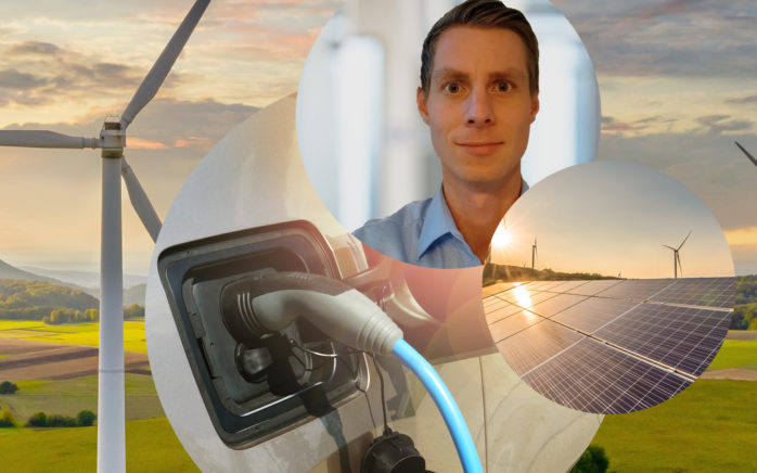Picture of Marco Fuhr, Senior Consultant in Logistics Management, in the background wind turbines, a photovoltaic system and the charging cable of an electric car, Sustainability in Supply Chain Management