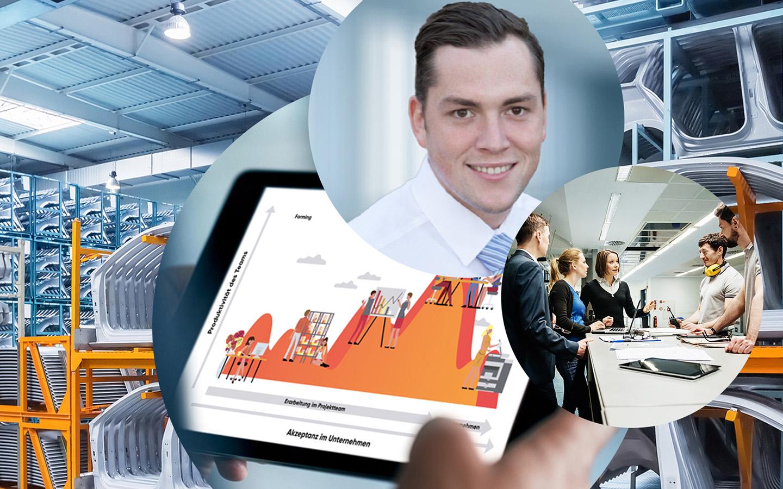 Bild von Marian Kral, Consultant bei valantic Supply Chain Excellence, daneben ein Bild von einem Change-Management-Modell