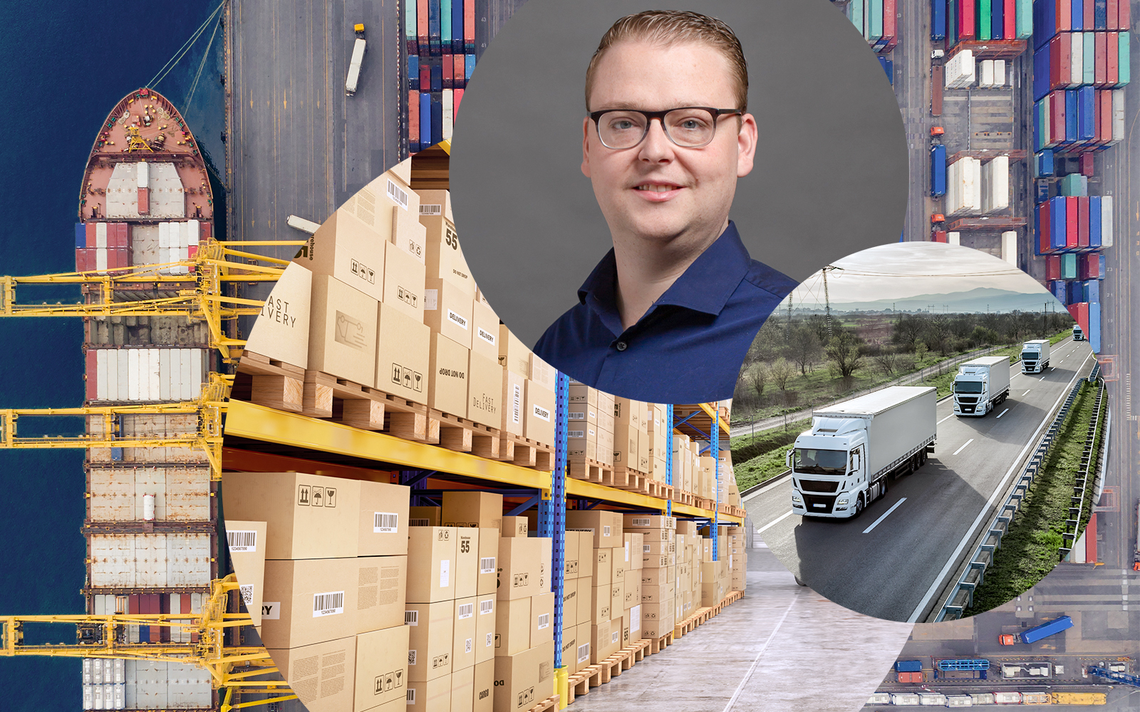 Portrait of Markus Hoff, Senior Consultant in the field of logistics management at valantic, in the background a warehouse and an industrial port