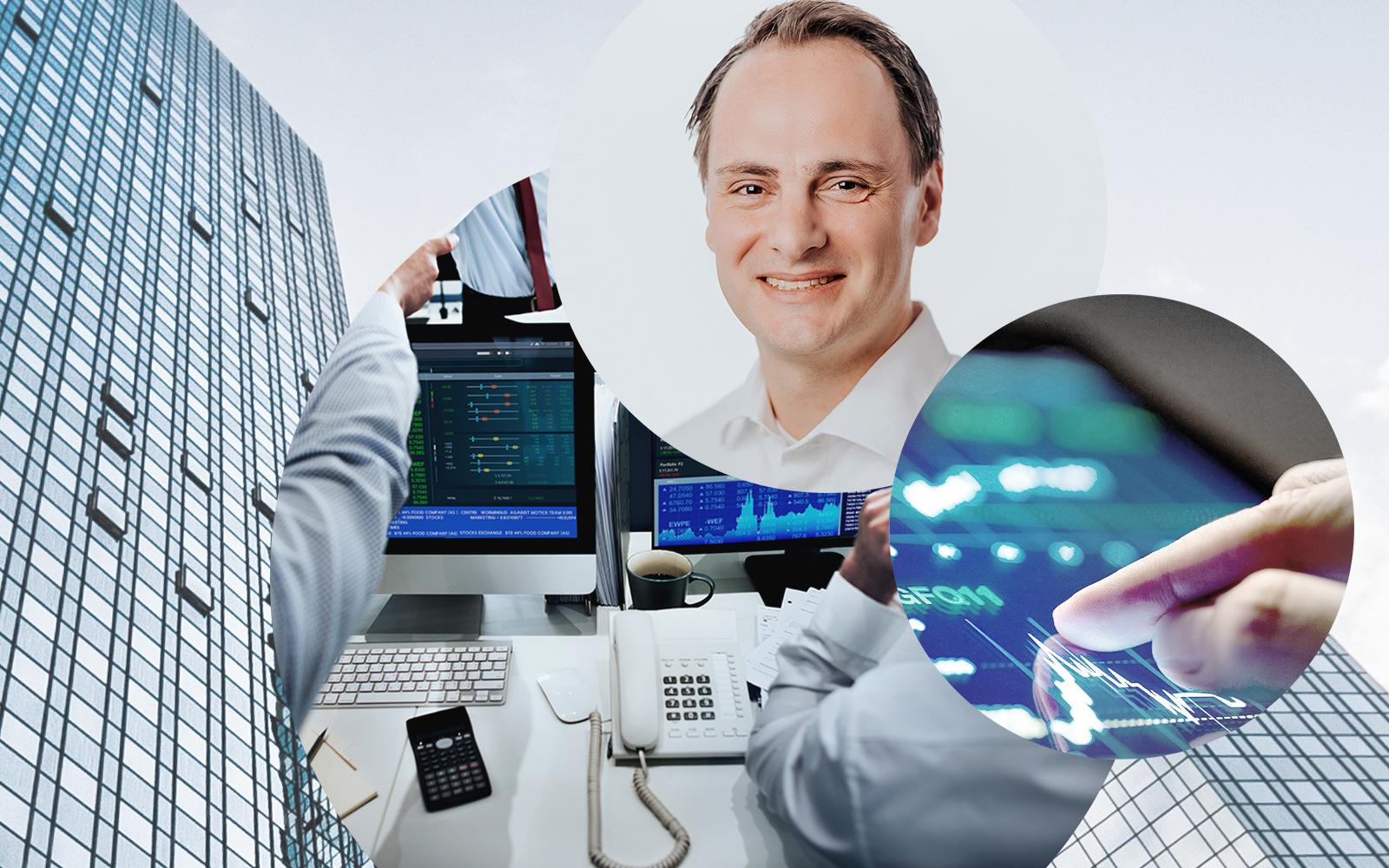 Bild von Mathias Schmidt, Produktmanager bei valantic, im Hintergrund Computerbildschirme