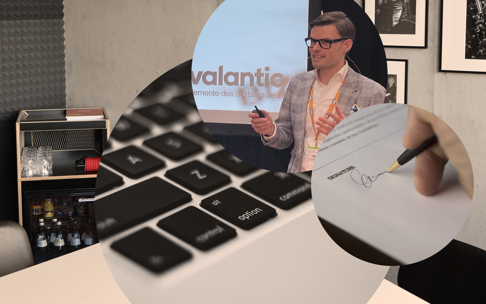 Image of Matthias Bös, Solution Architect for SAP C/4HANA at valantic Customer Engagement and Commerce, laptop keyboard, signature, conference room