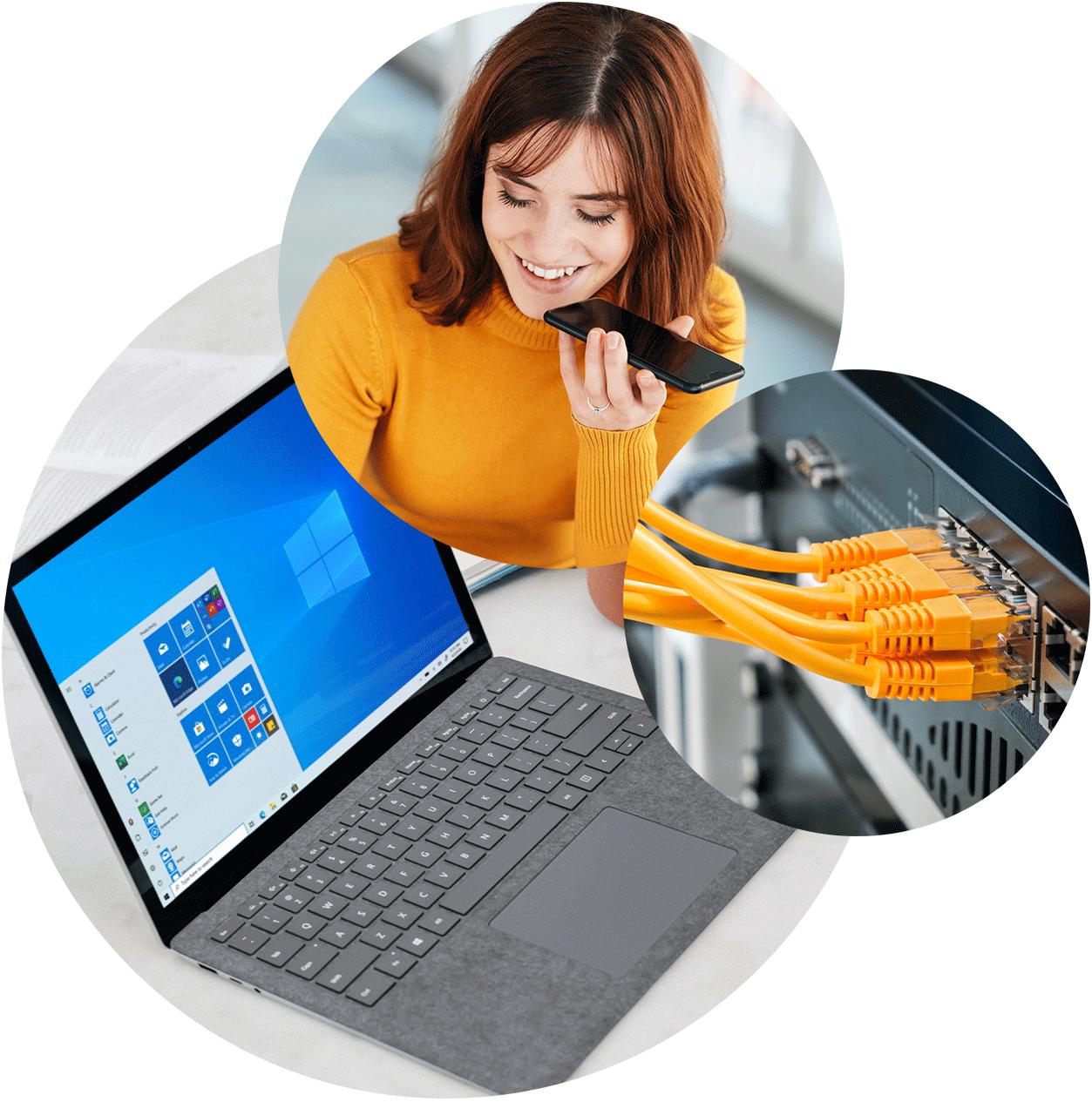 Dreiklang der Microsoft Power BI Leistungsseite bestehend aus drei runden Bildern. Auf dem ersten ist ein Laptop, auf dem zweiten eine Frau im orangen Pullover, die telefoniert und auf dem dritten ein oranges Netzwerkkabel.