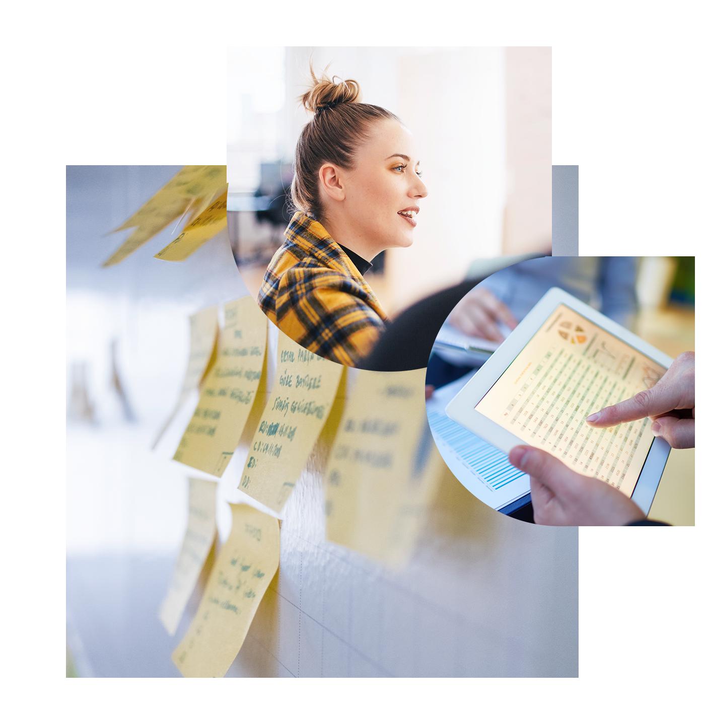Dreiklang des Headers der Webseite von Motio bestehend aus einer Frau, einem Laptop und einer Pinnwand mit Postits | Automatisiertes IBM Cognos Analytics Upgrade mit Motio