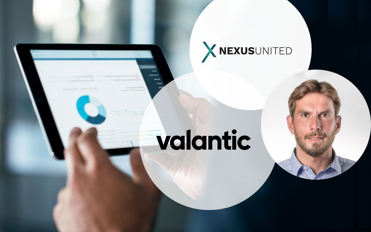 Image of a tablet pc, the valantic company logo, the NEXUS UNITED company logo and Tim Wedler, Managing Director of the NEXUS Netsoft group, interview with Tim Wedler