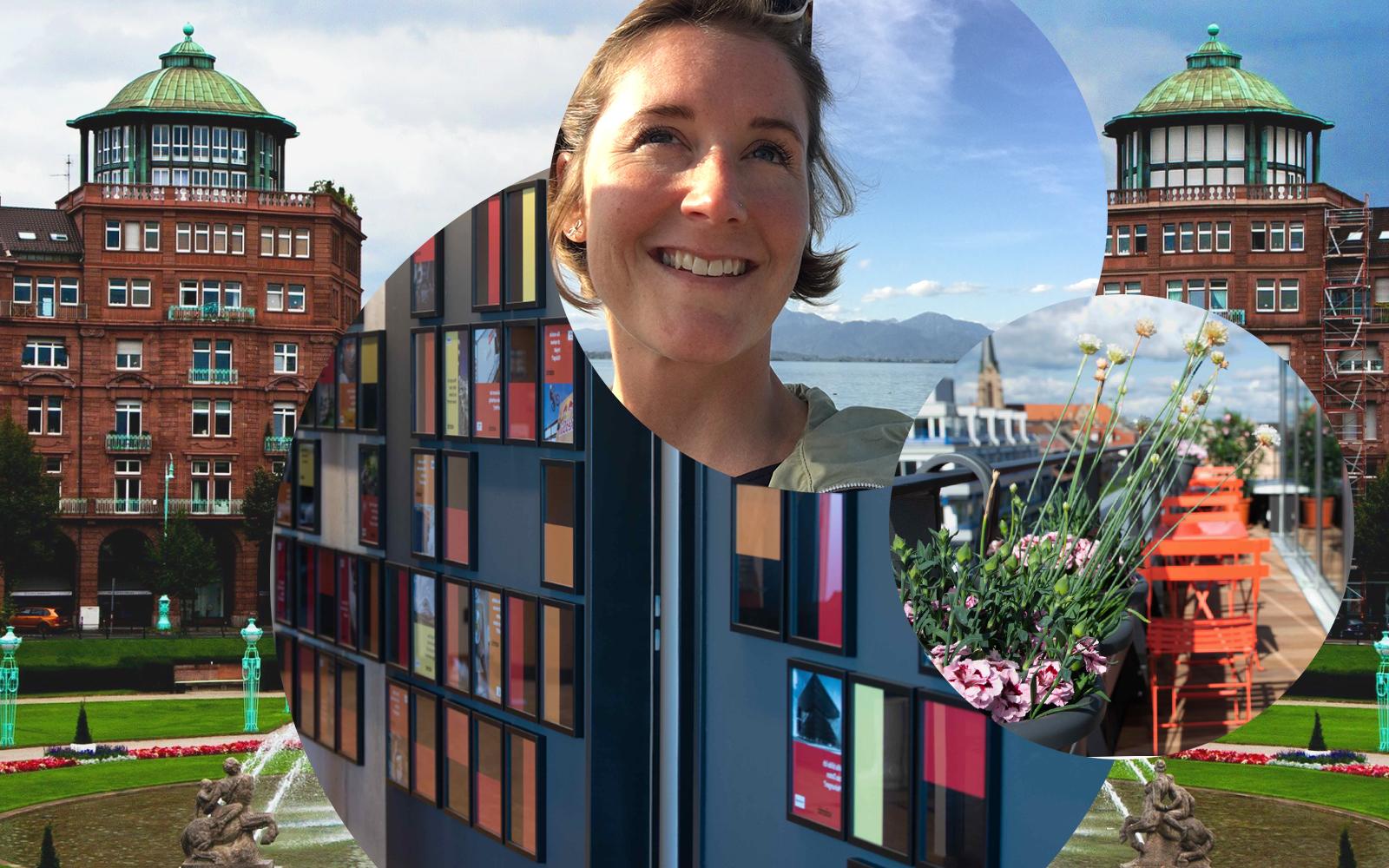 Bild von Nike Steinhausen, Managing Consultant bei valantic CEC in Mannheim, im Hintergrund die Büroräume der valantic CEC Mannheim sowie die Stadt Mannheim