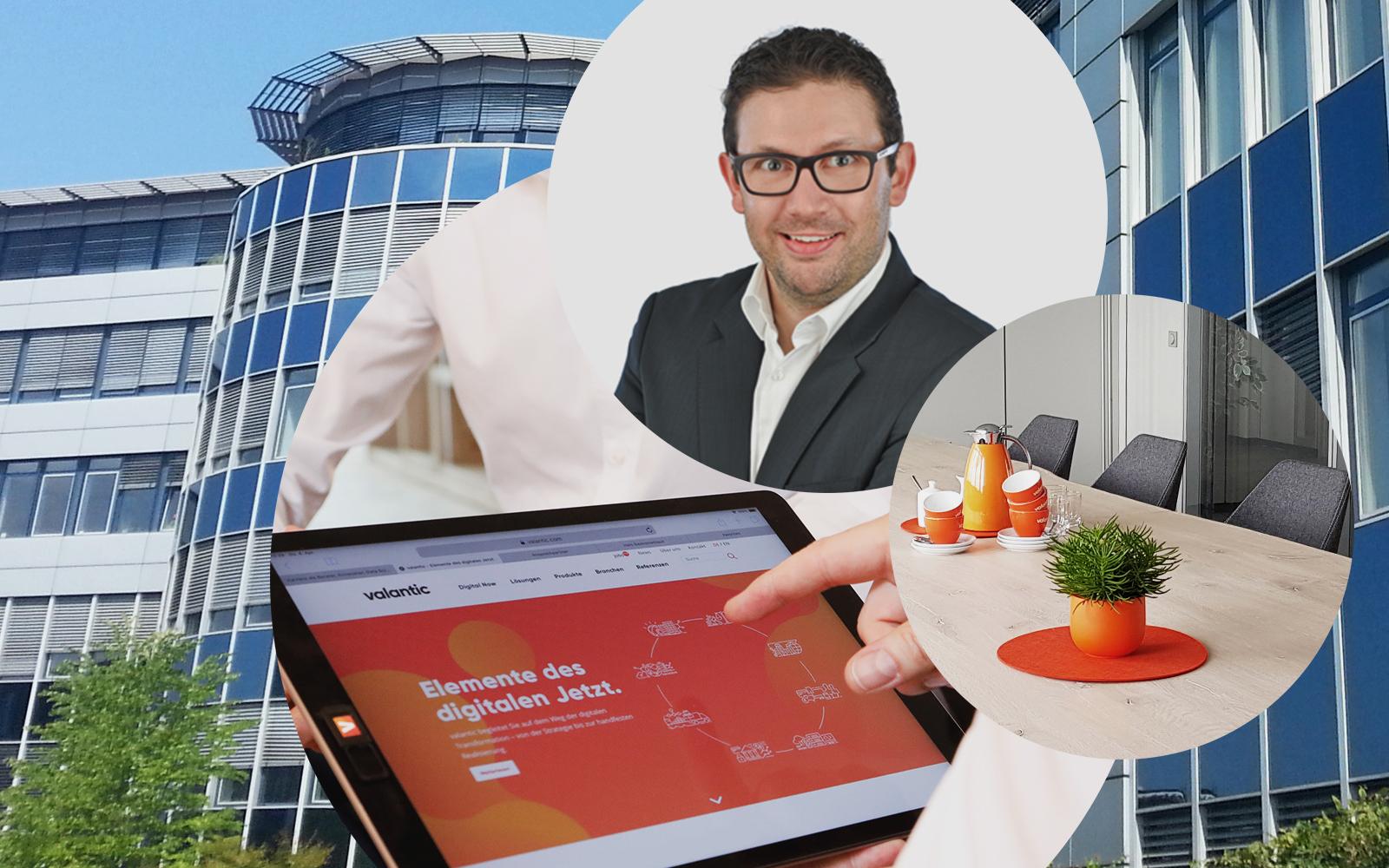 Bild von Nils Meißner, Projektmanager SAP S/4HANA bei valantic ERP Services, im Hintergrund die Büroräume und das Bürogebäude des Langenfelder Büros