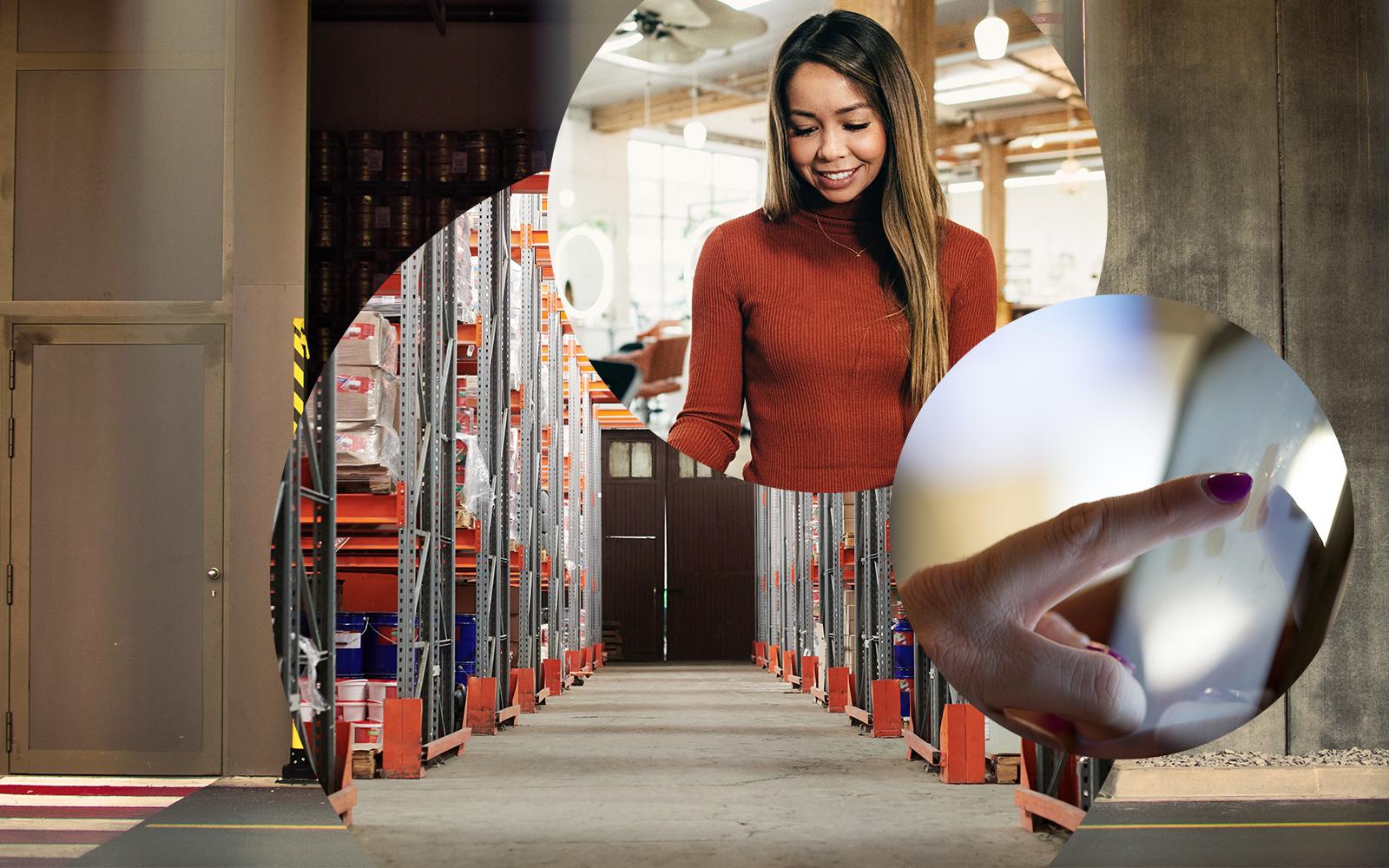 Bild einer lächelnden Frau, im Hintergrund Regale eines Baumarktes sowie die Nahaufnahme eines Tablet-Bildschirmes