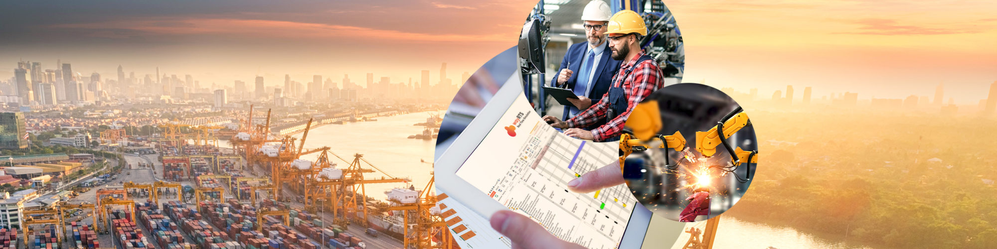 Picture of two men at work in a production plant, next to it a picture of a machine and behind it pictures of a tablet with a screenshot of the wayRTS software and a port with containers, valantic production planning with wayRTS