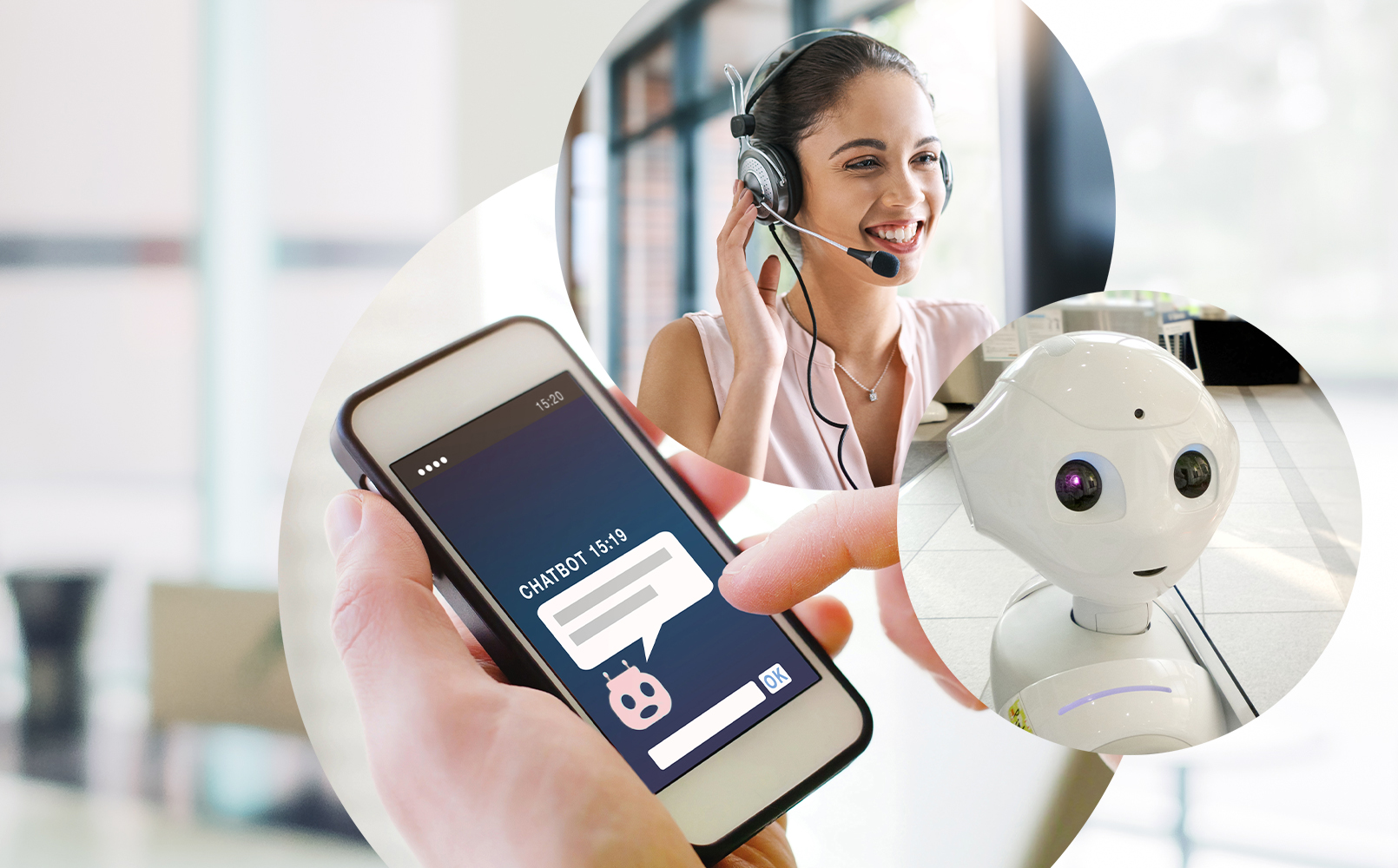 Bild einer Frau mit Headset, daneben ein Bild von einer vernetzten Struktur und dahinter ein Bild von einem Live Chat mit einem Chatbot und ein Bild von einem Roboter, valantic Blog Robotic, Chatbots und Konversational AI