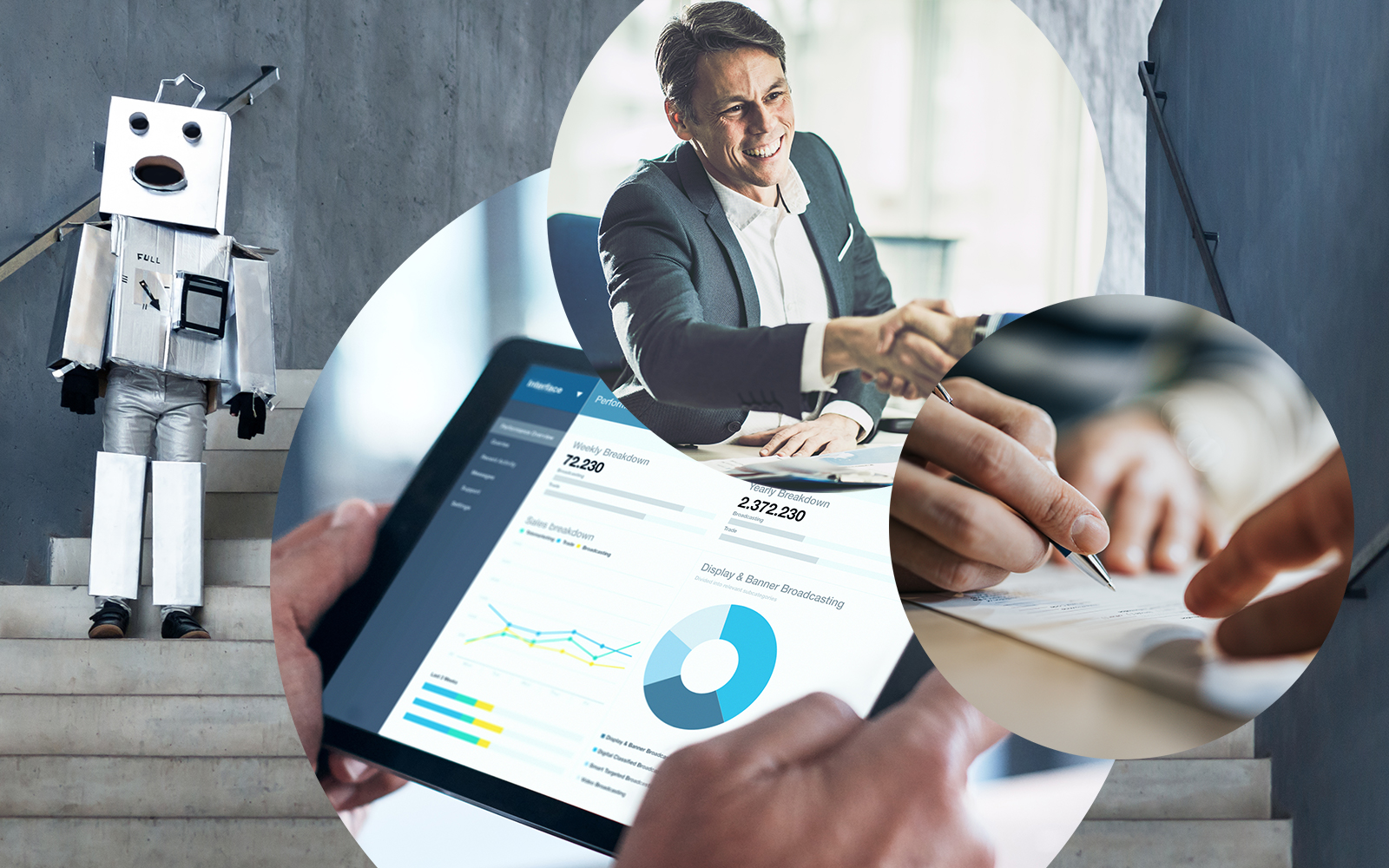 Bild einer als Roboter verkleideten Person vor einem Gebäude, daneben ein Tablet, auf dem der Screen der SAP Sales Cloud zu sehen ist, im Bild daneben ein Vertrag, der gerade unterzeichnet wird, darüber ein Mann, der die Hand einer anderen Person schüttelt