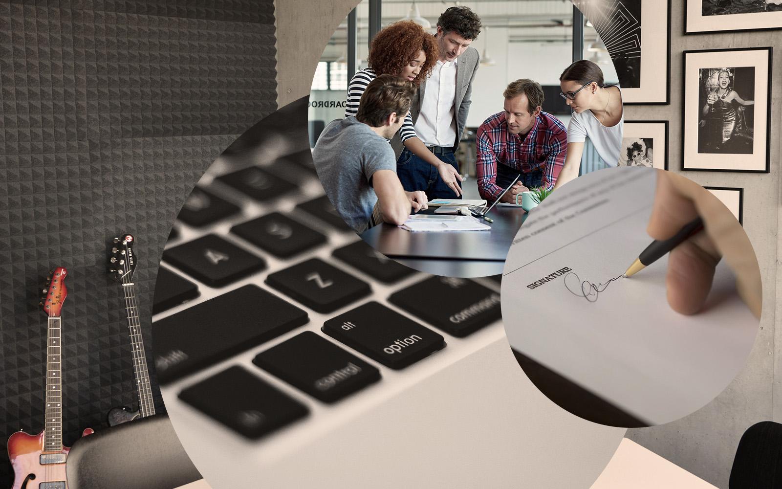 Bild von mehreren Menschen, die beratend um einen Laptop stehen, im Hintergrund ein Konferenzraum sowie die Nahaufnahme einer Computertastatur und eines unterschriebenen Vertrags