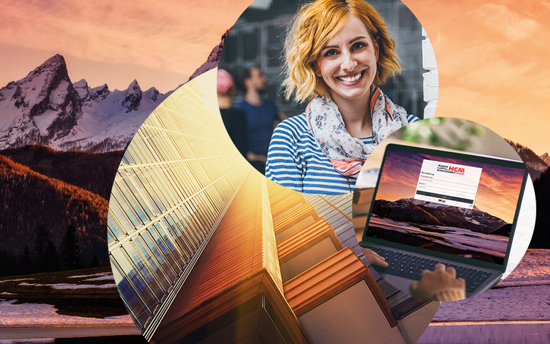Image of a smiling woman, next to her a laptop with the SAP HCM screen, in the background a building and mountains