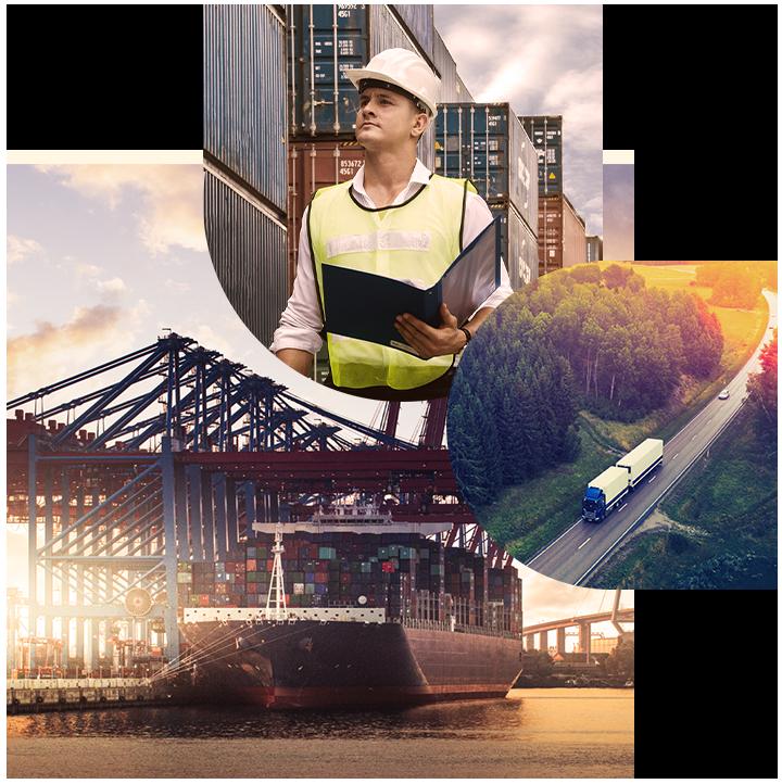Drei Bilder von einem Mann in Sicherheitsweste, einem Containerschiff und einem LKW, SAP Logistics Business Network