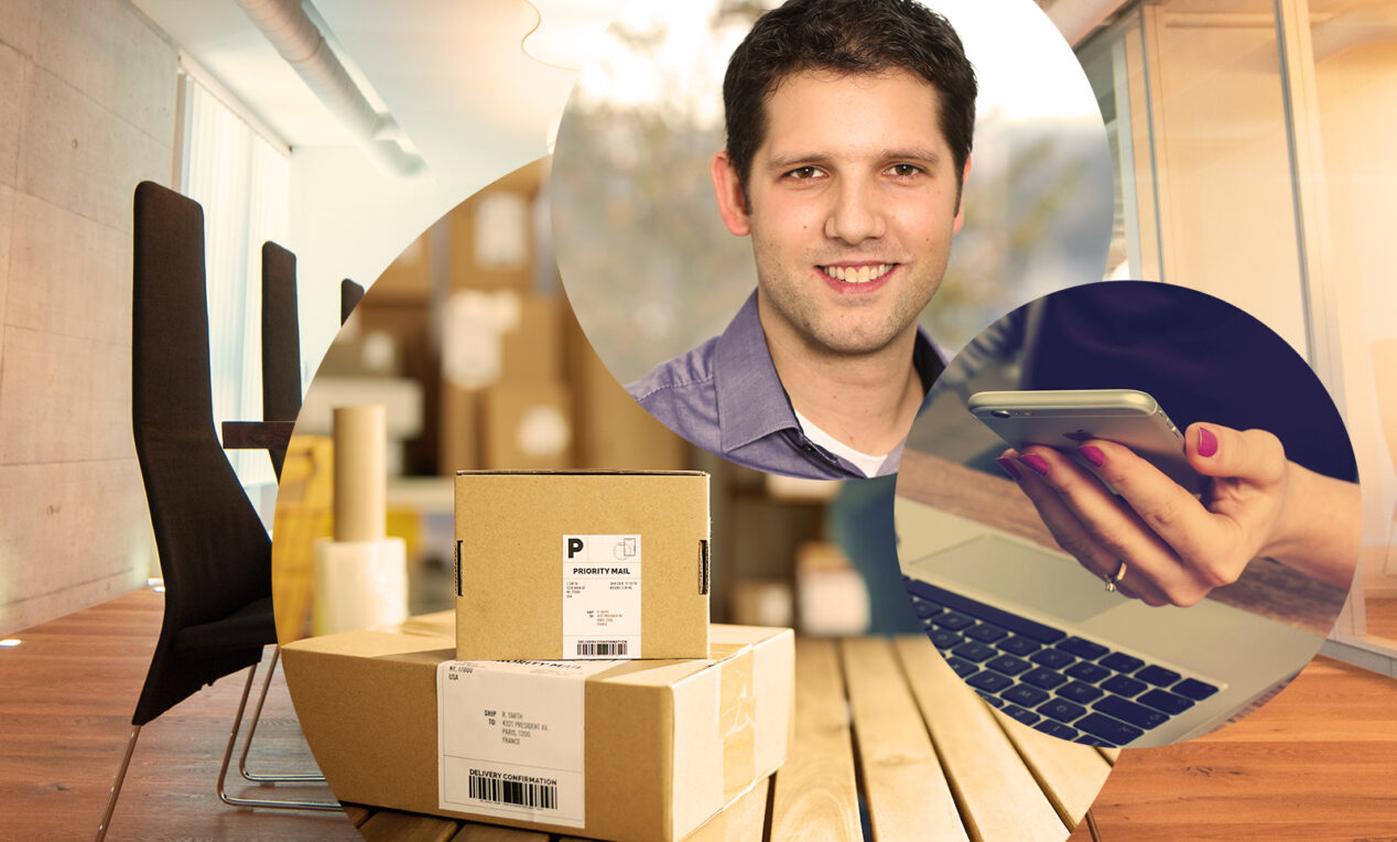 Picture of Fabian Saccilotto, valantic CEC Switzerland, next to it a smartphone and stacked packages