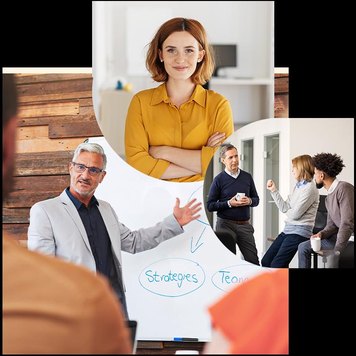 SAP SuccessFactors von valantic, Bild von einer lächelnden Frau, daneben mehrere Personen, die sich unterhalten, und ein Mann, der einen Vortrag hält