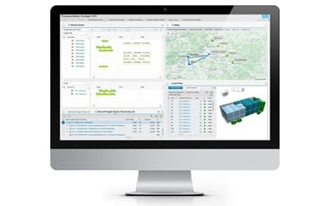 Picture of a screen with a screenshot of the SAP Transportation Management (TM) software for shippers with truck storage space calculation, valantic