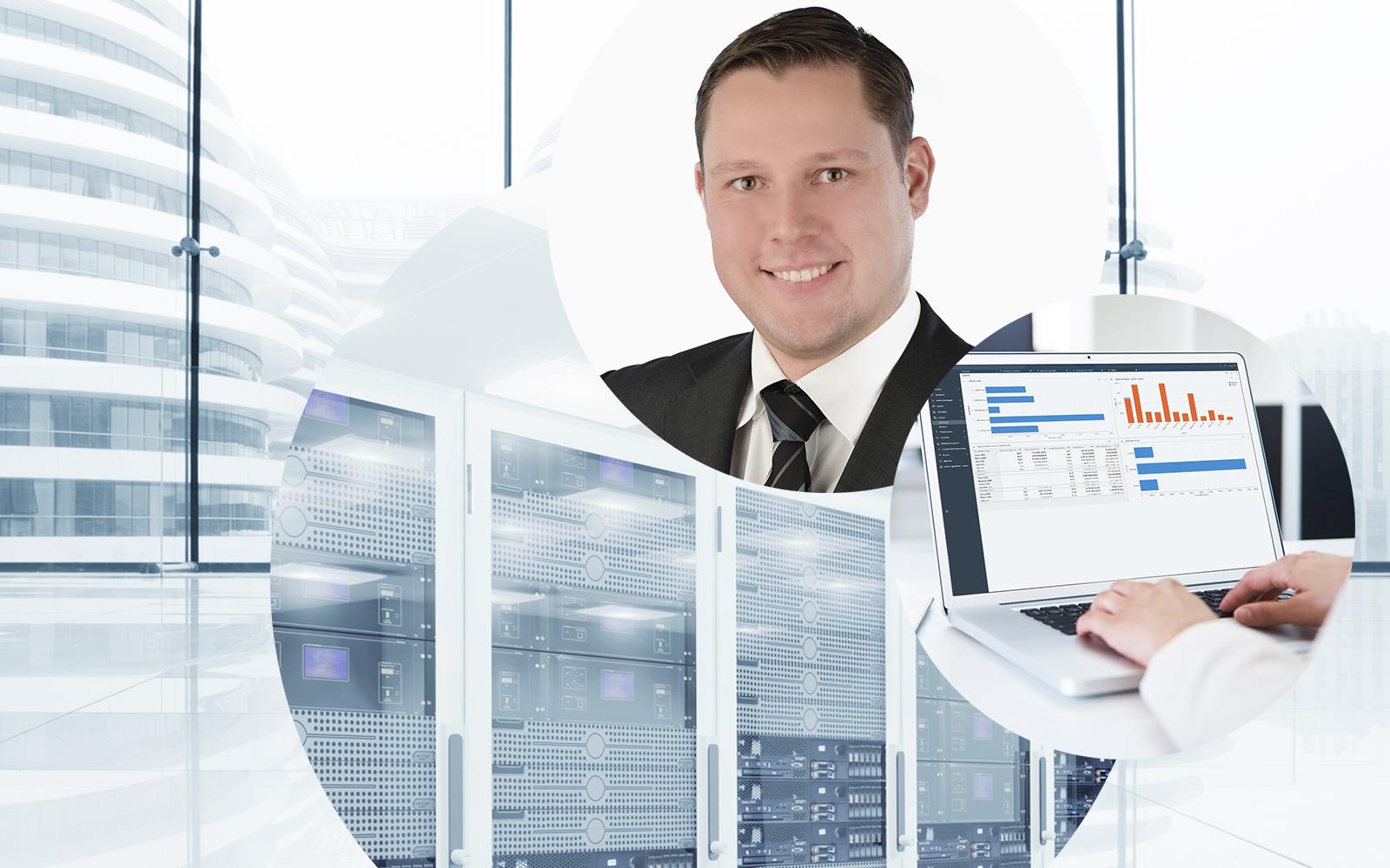 Bild von Marcel Deichmann, SAP Experte bei valantic Enterprise Ressource Planning (ERP), Serverraum, offener Laptop, weißes Gebäude im Hintergrund