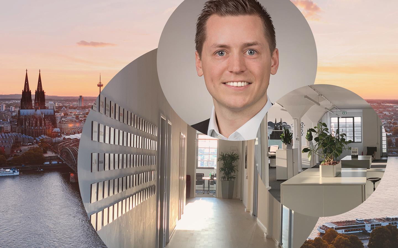 Bild von Simon Wolter, Managing Consultant bei Linkit Consulting - a valantic company, die Büroräume in Köln sowie die Skyline von Köln mit den Kölner Dom