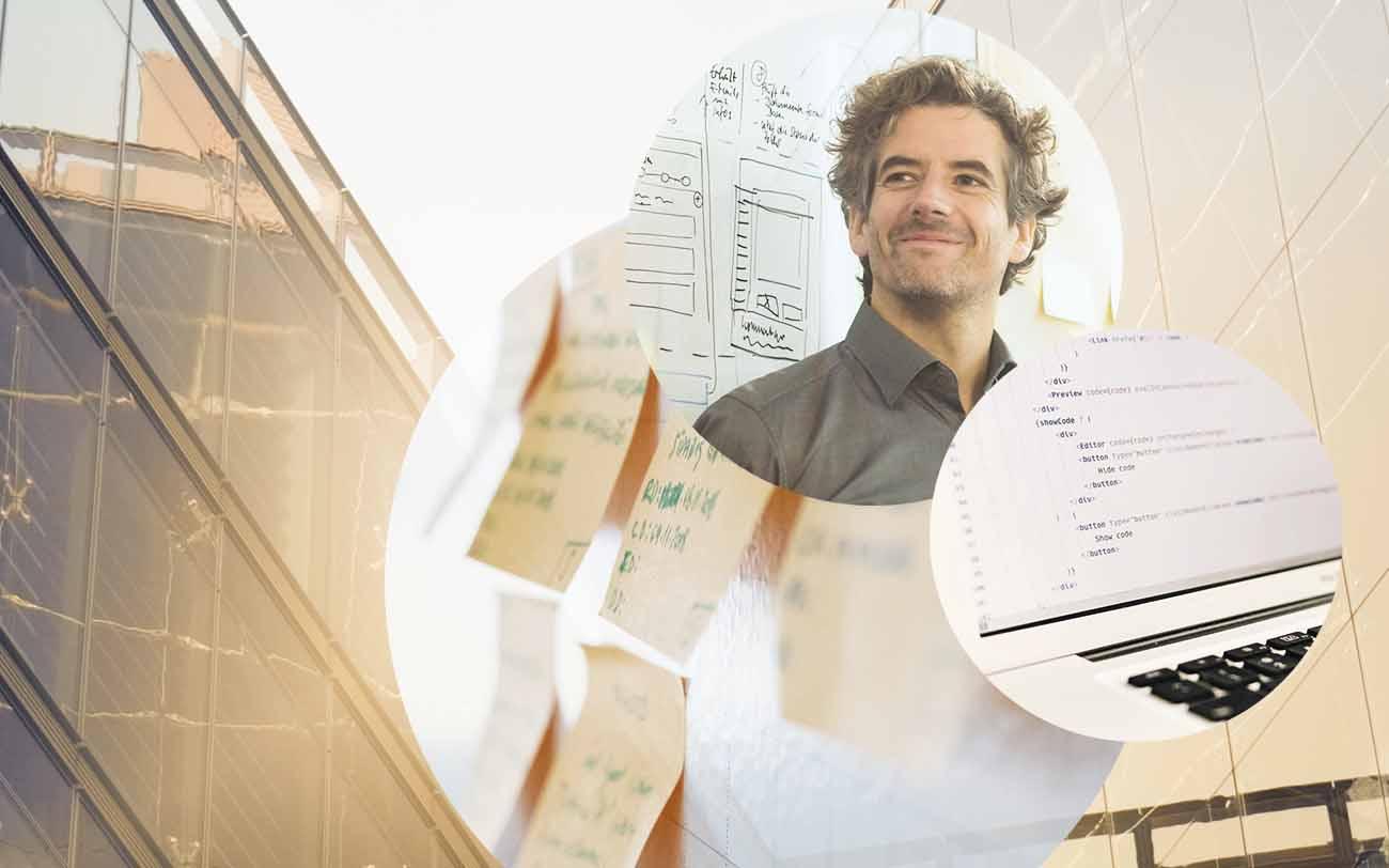 Bild eines Mannes, daneben ein Bild eines Computers mit Code, dahinter ein Bild von Post-it's und ein Bild von einem Gebäude, valantic Projekt mit der apo Bank