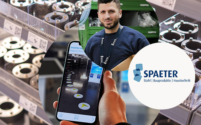 Image header metal parts, smart phone, employee, Spaeter augmented shop experience