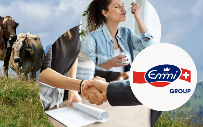 This is the featured image of Emmi's Success Story consisting of a cow pasture, a woman eating her yoghurt with pleasure and the Emmi logo.
