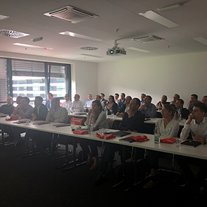 Picture of people sitting in a lecture, valantic Supply Chain Excellence Day at SEW Eurodrive