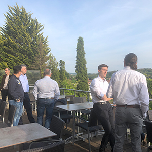 Picture of people on a terrace, valantic Supply Chain Excellence Day at SEW Eurodrive