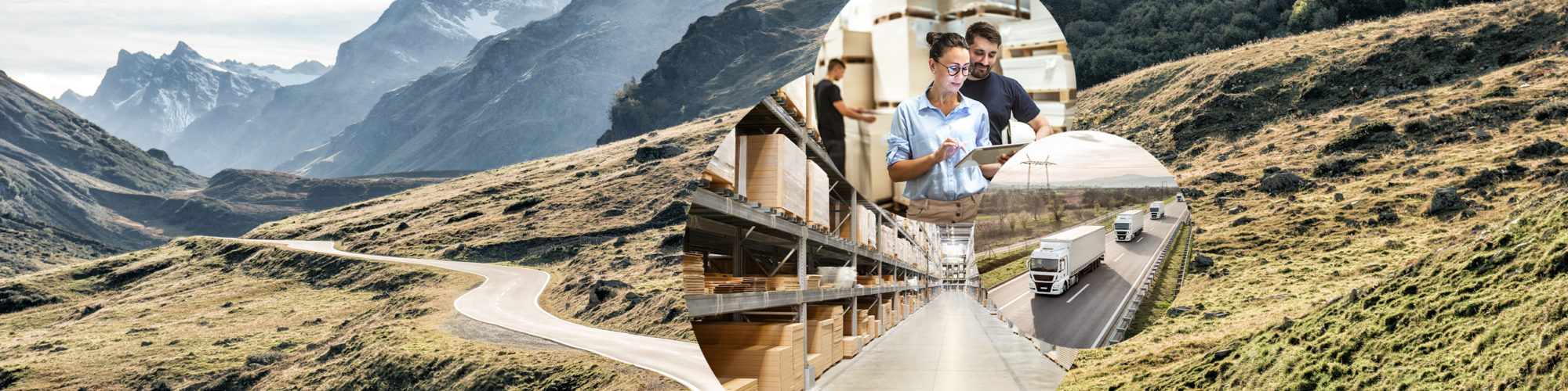 Picture of two people with a tablet in a warehouse, next to it a picture of trucks on a road and behind it a picture of a warehouse and a picture of a mountain road, Connected Chain Manager from valantic