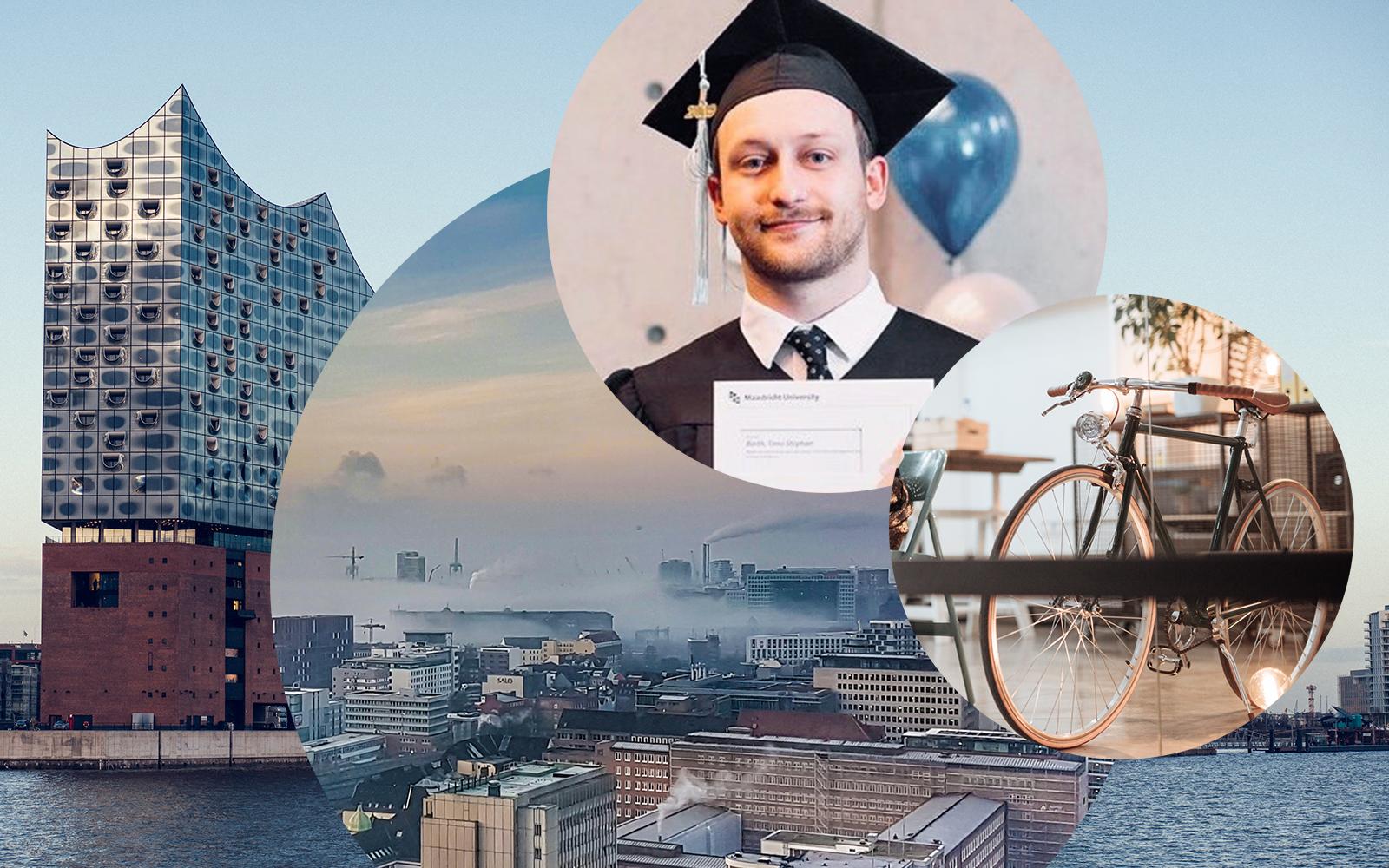 Bild von Timo Barth, Consultant im Bereich SAP Analytics bei valantic in Hamburg, dahinter die Skyline von Hamburg