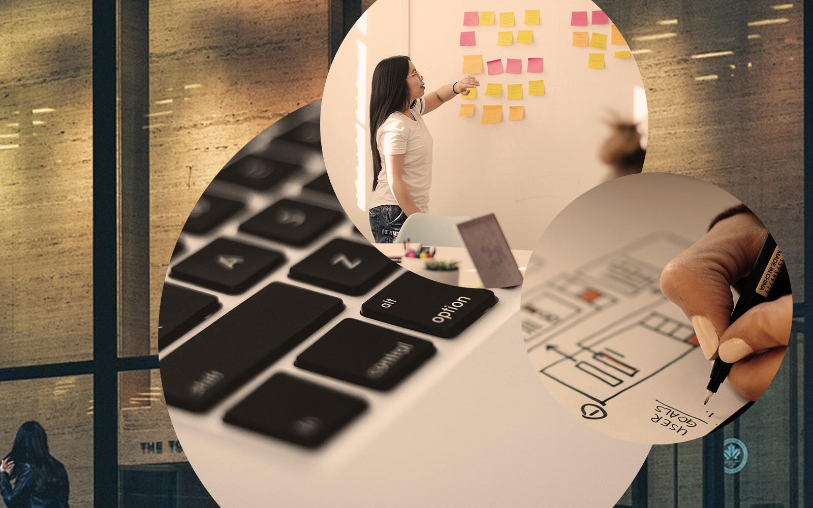 Bild einer Laptop-Tastatur, einer Frau, die vor einem Whiteboard mit bunten Post-Its steht, sowie die Zeichnung einer Projektplanung, Bild zum Blogbeitrag für ein erfolgreiches Customer Relationship Management (CRM)