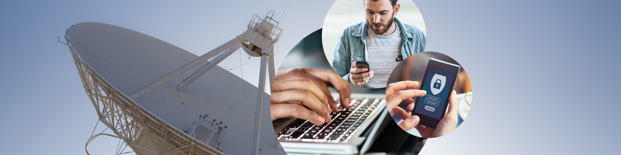 Image of a man looking at his smartphone; in the background a satellite; TC Security: Secure Networks, Data and Revenues