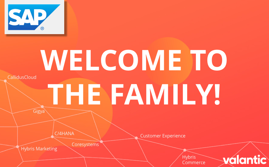 """Graphic with the inscription """"Welcome to the Family!"""", valantic Planning Analytics User Day"""