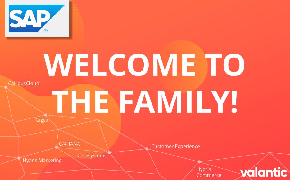 """Grafik mit der Aufschrift """"Welcome to the Family!"""", valantic Planning Analytics Anwendertag"""