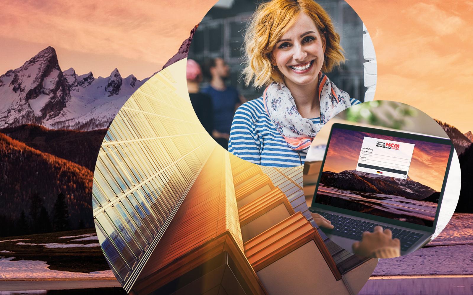 Bild einer lachenden Frau, Computerbildschirm SAP HCM, Bergpanorama im Hintergrund