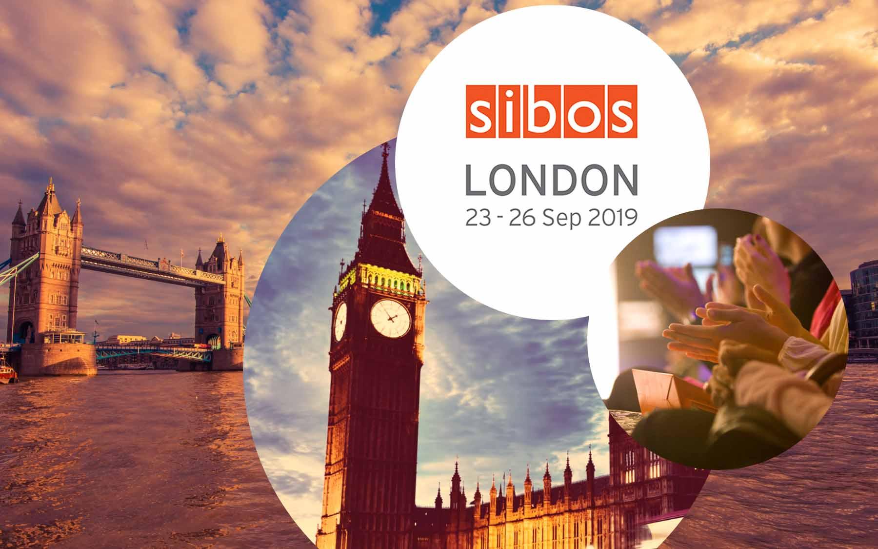 Logo von SIBOS, daneben ein Bild von applaudierenden Menschen und dahinter Stadtansichten von London, valantic at SIBOS in London