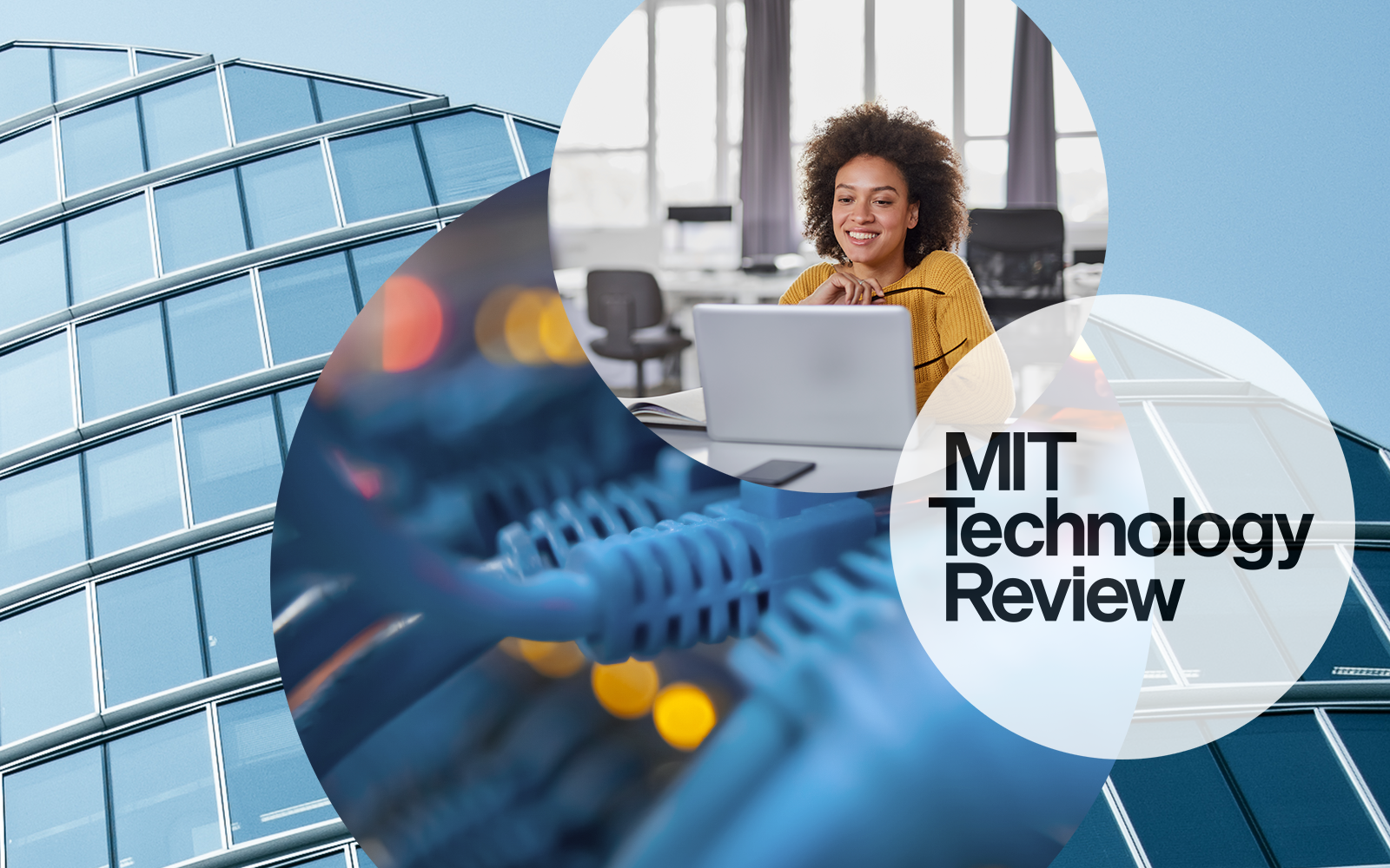 Image of a woman sitting in front of a laptop. Next to it, cables and the MIT Technology Review logo