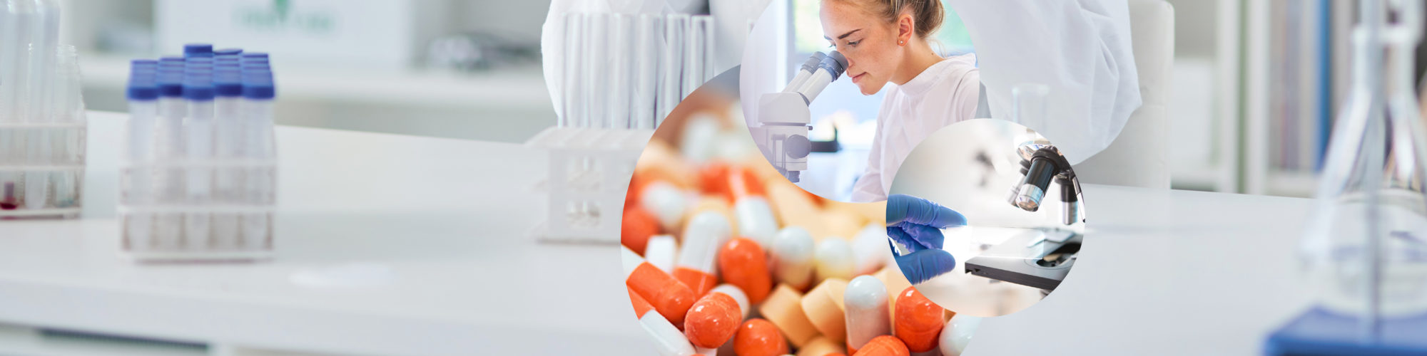 Image of a woman in a smock looking through a microscope, next to it the close-up of a microscope and tablets and pills, in the background a laboratory, valantic chemical and pharmaceutical industry
