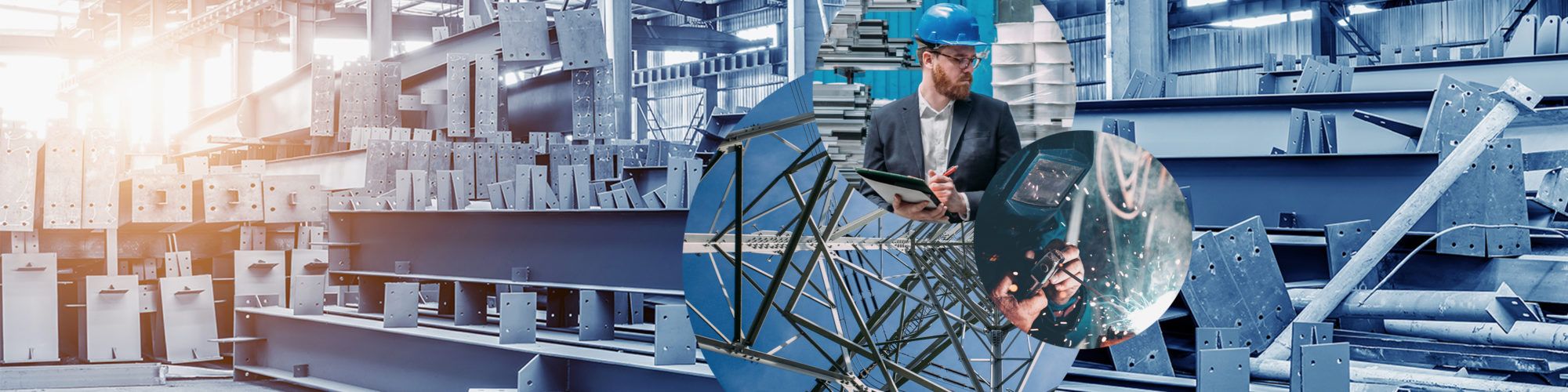 Picture of a man with a construction helmet, standing in one in a production hall and writing something down, next to it a picture of welding work and behind it pictures of a scaffolding and a production plant, valantic industry: mechanical and plant engineering