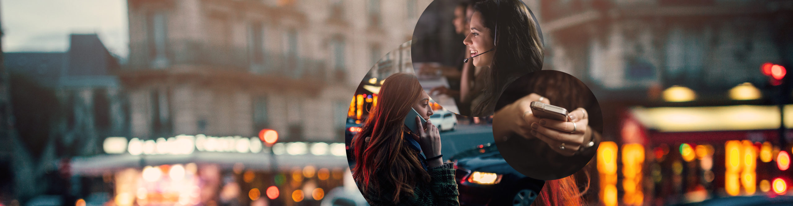 Picture of a woman with headset in front of a screen, next to it a picture of a woman holding a smartphone and behind it pictures of a woman in a city and a city view, valantic telecommunication and media