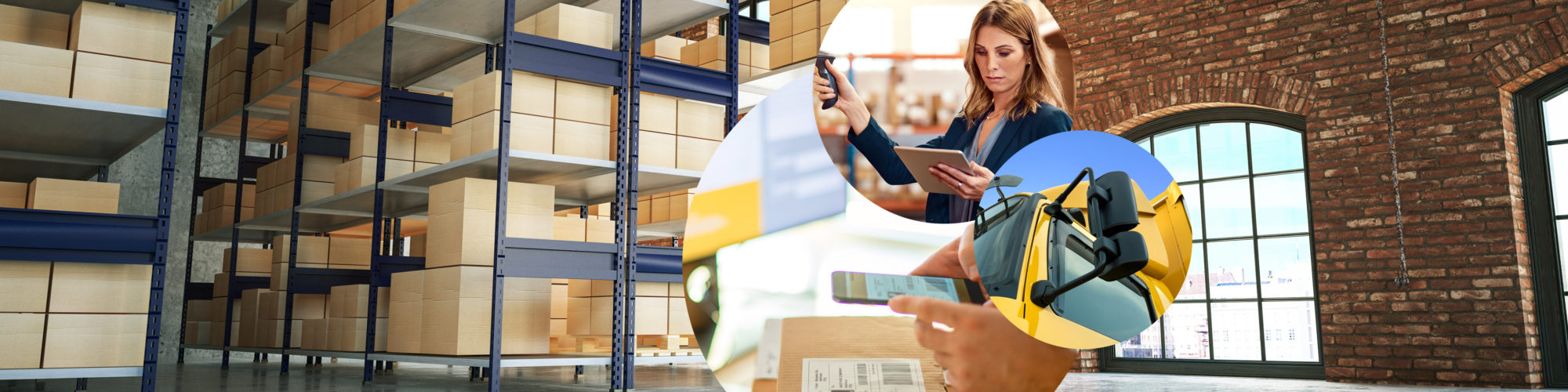 Picture of a woman holding an iPad and scanning a parcel, next to it a close-up of a yellow truck and a parcel sticker that is scanned with a mobile phone, in the background a warehouse with parcels